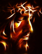 Christ Face Digital Art Prints - The Passion of Christ Print by Pamela Johnson