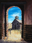 Wooden Building Painting Posters - The Past Poster by Lynette Cook