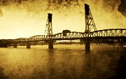Buildings Art Posters - The past of Hawthorne Bridge Poster by Cathie Tyler