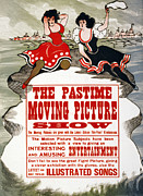 1800s Framed Prints - The Pastime Moving Picture Show Framed Print by Everett