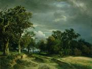 Path Painting Prints - The Path on the Edge of the Wood Print by Johann Wilhelm Schirmer