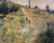Path Painting Prints - The Path through the Long Grass Print by Pierre Auguste Renoir
