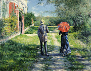 Umbrella Framed Prints - The Path Uphil Framed Print by Gustave Caillebotte