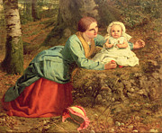 Woman And Child Posters - The Path Where The Brown Leaves Are Spread Poster by Frederick Richard Pickersgill