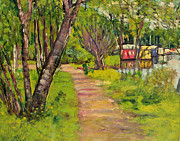 Countryside Paintings - The Pathway Loch Lomond by George Leslie Hunter