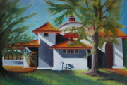 Building Pastels Acrylic Prints - The Pavilion Acrylic Print by Joy DiNardo Bradley         DiNardo Designs