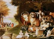 Indian Framed Prints - The Peaceable Kingdom Framed Print by Edward Hicks