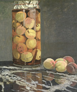 Marble Top Table Paintings - The Peach Glass by Claude Monet