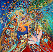 Kabbalah Art - The Peacocks and Blue Deer by Elena Kotliarker
