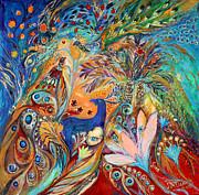 The Peacocks And Blue Deer Print by Elena Kotliarker