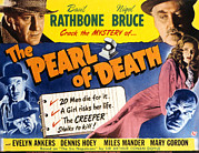 Lobbycard Prints - The Pearl Of Death, Top Basil Rathbone Print by Everett