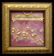 Affirmation Mixed Media Posters - The Pearls of Wisdom Poster by Paula Brett
