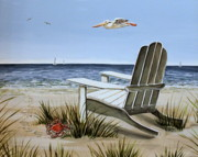 Blue Chairs Posters - The Pelican Poster by Elizabeth Robinette Tyndall