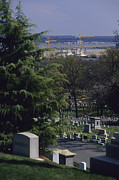Cranes And Derricks Etc. Art - The Pentagon Looms Behind  Arlington by Raymond Gehman