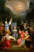 Knelt Painting Posters - The Pentecost Poster by Louis Galloche