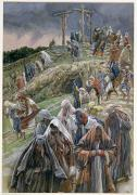 Gouache Paintings - The people beholding the things that were done smote their breasts by Tissot
