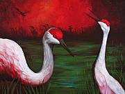 Crane Painting Framed Prints - The People Framed Print by Bonnie Kelso