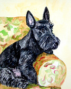 Puppies Framed Prints - The Perfect Guest - Scottish Terrier Framed Print by Lyn Cook