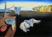 Clocks Painting Framed Prints - The persistence of memory Salvador Dali reproduction Framed Print by Marek Halko