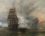 Blue Sea Paintings - The Phantom Ship by William Lionel Wyllie