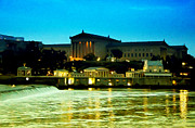 Art Museum Digital Art Prints - The Philadelphia Art Museum and Waterworks at Night Print by Bill Cannon