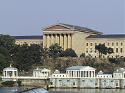 Art Museum Digital Art Prints - The Philly Art Museum and Waterworks Print by Bill Cannon