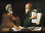 Cap Painting Framed Prints - The Philosophers Framed Print by Master of the Judgment of Solomon