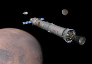 Astronautics Art - The Phobos Mission Rocket Prepares by Walter Myers
