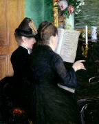 Music Score Paintings - The Piano Lesson by Gustave Caillebotte