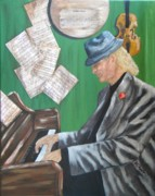 Sheet Mixed Media Framed Prints - The Piano Man Framed Print by JoAnn Wheeler