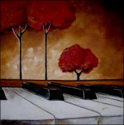 Surreal Landscape Painting Framed Prints - The Piano Mans Dream Framed Print by Vickie Warner