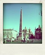 Town Square Prints - The Piazza del Popolo. Rome Print by Bernard Jaubert