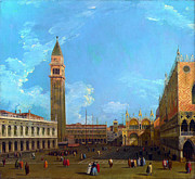 Canaletto Paintings - The Piazzetta from the Molo by Canaletto by Pg Reproductions