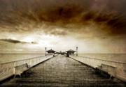 the pier at Llandudno Print by Meirion Matthias