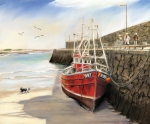 Framed Prints Pastels Prints - The Pier at Spiddal Galway Ireland Print by Irish Art