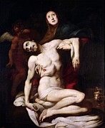 Religious Jesus On Cross Prints - The Pieta Print by Daniele Crespi