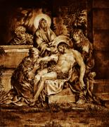Religious Art Pyrography Originals - The Pieta by Dino Muradian