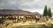 Farm Scenes Prints - The Pig Market Print by Pierre Edmond Alexandre Hedouin