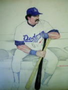 Los Angeles Dodgers Drawings Prints - The Pinch hitter Print by Nigel Wynter
