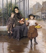 Mother Framed Prints - The Pinch of Poverty Framed Print by Thomas Benjamin Kennington