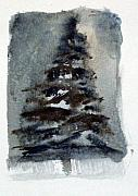Winter Night Drawings Metal Prints - The Pine Tree Metal Print by Mindy Newman