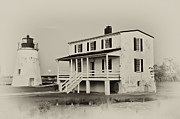 The  White House Digital Art - The Piney Point Lighthouse in Sepia by Bill Cannon