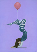 Original Oil Paintings - The Pink Balloon II by Steve Mitchell
