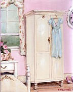 Rose Patterned Curtains Paintings - The Pink Bedroom by Gail McCormack