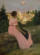 Looking Down Metal Prints - The Pink Dress Metal Print by Jean Frederic Bazille