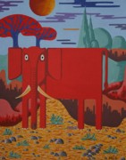 Contemporary Animal  Acrylic Paintings - The Pink Elephant by Stephen Diggin