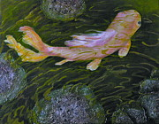 Koi Painting Posters - The Pink Fish Poster by Carla Stein