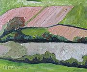 Francois Fournier Paintings - The  Pink Hill Compton Quebec Canada by Francois Fournier