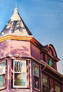 Historic Home Painting Prints - The Pink Lady Print by Greg Halom