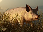 Pig Digital Art - The Pink Pig by Daniel Eskridge